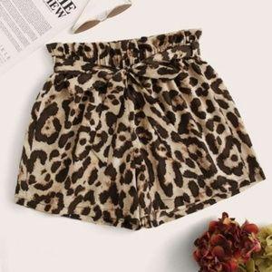 Pants - MONELLE leopard print front tie shorts